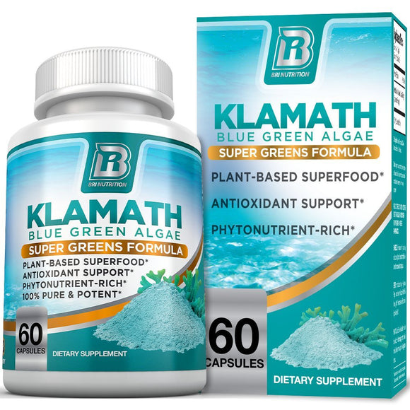 BRI Nutrition Klamath Blue Green Algae - More Effective Than Spirulina or Chlorella- Grown From The Clean Pure Source Of Klamath Lake, 500mg 60ct Gel Capsules