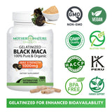 Premium Organic Gelatinized Black Maca Root - Max Strength 1000mg Per Serving - Supports Reproductive Health & Energy - Non-GMO