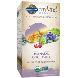 Garden of Life Organic Prenatal Multivitamin Supplement with Folate - mykind Prenatal Once Daily Whole Food Vitamin, Vegan, Organic, Non-GMO & Kosher, 90 Tablets | Color May Vary