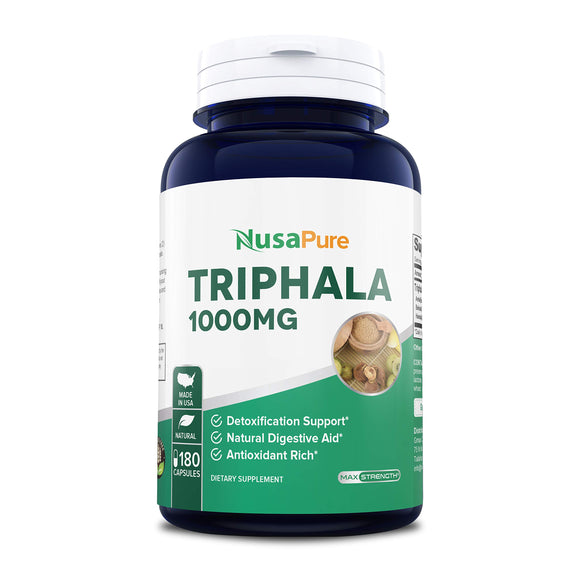 Triphala 1000mg Max Strength 180 Capsules (Non-GMO) - Supports Natural Internal Detox, Healthy Digestion - Rejuvenates Tissues - Natural Antioxidant