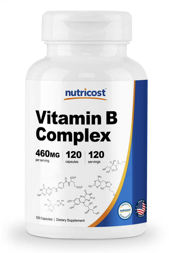 Nutricost High Potency Vitamin B Complex 460mg, 120 Capsules - With Vitamin C - Energy Complex