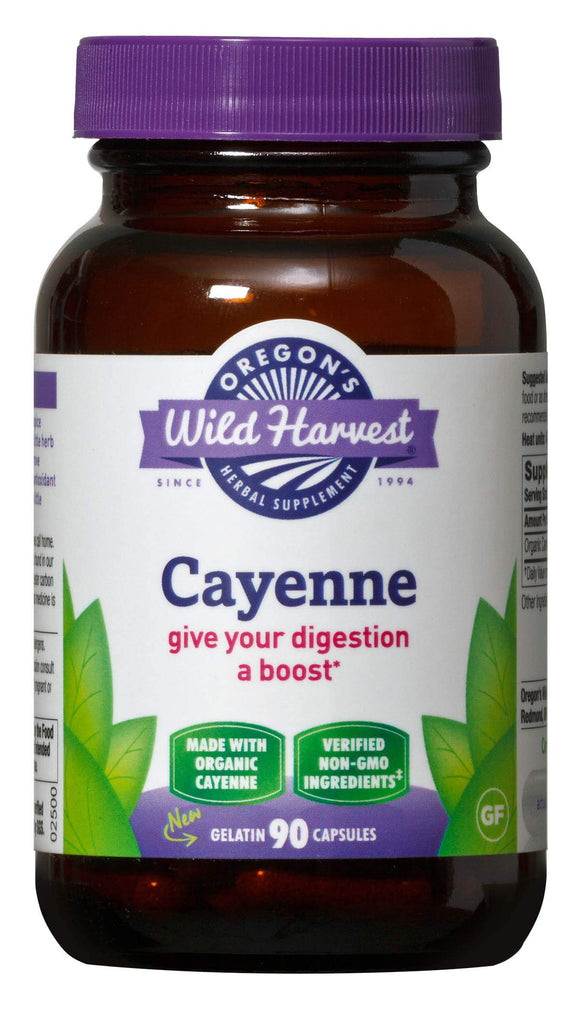 Oregon's Wild Harvest Non-GMO Cayenne Capsules, Organic Herbal Supplements (Packaging May Vary), 90 Count