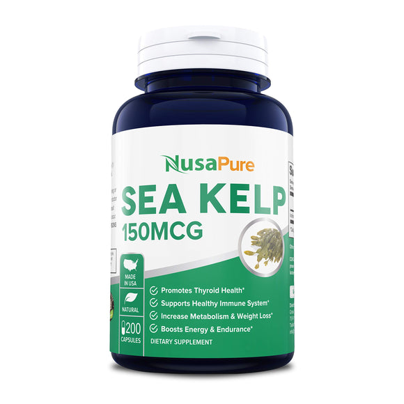Sea Kelp 150mcg 200 Capsules (Non-GMO & Gluten Free) - for Weight Loss, Thyroid Support, Helps with Hair and Nail Health, Anti-Aging & Boosts Vitamin A, B, C, D, E and K - Natural Iodine