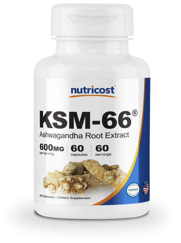 Nutricost KSM-66 Ashwagandha Root Extract 600mg, 60 Veggie Caps - High Potency 5% Withanolides - with BioPerine - Organic Full-Spectrum Root Extract