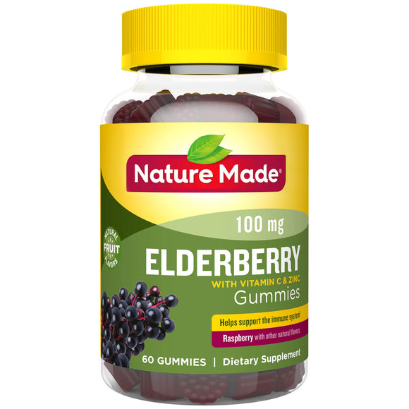 Nature Made Elderberry Gummies 100mg with Vitamin C & Zinc Gummies, 60Count to Help Support The Immune System