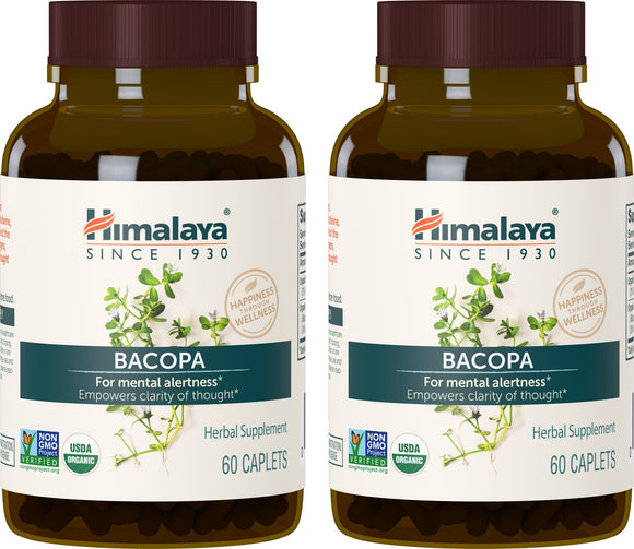 Himalaya Organic Bacopa/Brahmi, 60 Caplets for Mental Alertness, Cognitive Health & Memory Support 750 mg, (Pack of 2)