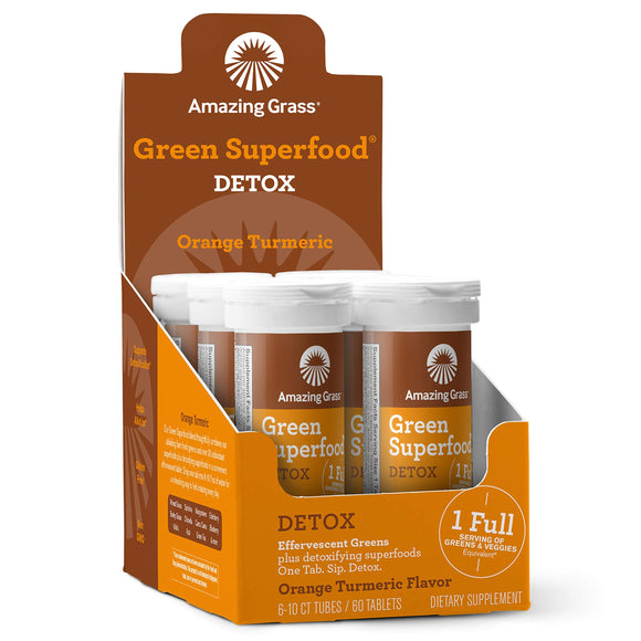 Amazing Grass Detox: Detoxifying Drink Tablets, Orange Turmeric Flavor, Box of 6 Tubes (60 servings), with Antioxidants for inflammation support & One Serving of Greens