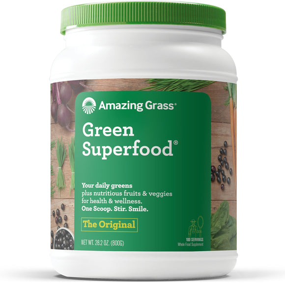 Amazing Grass Green Superfood: Organic Wheat Grass and 7 Super Greens Powder, 2 servings of Fruits & Veggies per scoop, Original Flavor, 100 Servings
