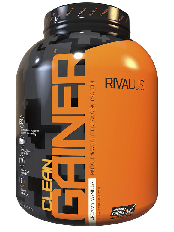 Rivalus Clean Gainer - Smooth Vanilla 5lb   - Delicious Lean Mass Gainer with Premium Dairy Proteins, Complex Carbohydrates, and Quality Lipids, No Banned Substances, Made in USA