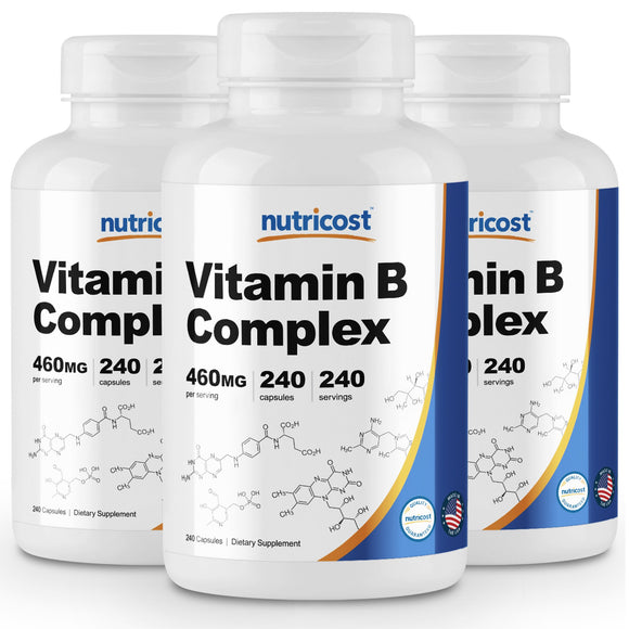 Nutricost High Potency Vitamin B Complex 460mg, 240 Capsules (3 Bottles) - With Vitamin C