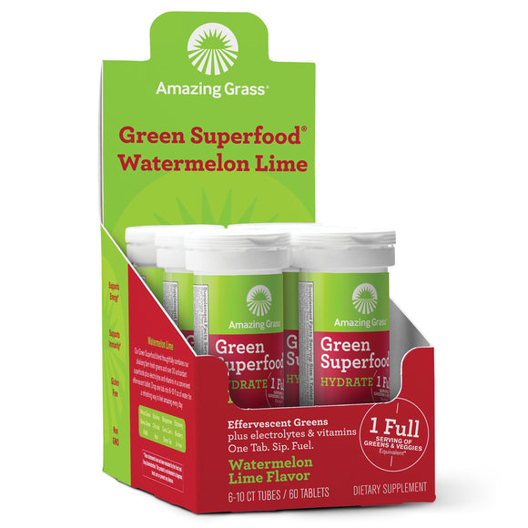 Amazing Grass Green Superfood Hydration: Effervescent Electrolyte Drink Tablets, Hydrating Electrolytes plus One serving of Greens and Veggies, Watermelon Lime Flavor, 60 Servings