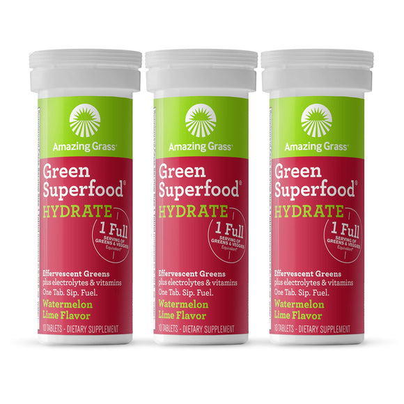 Amazing Grass Green Superfood Hydration: Effervescent Electrolyte Drink Tablets, Hydrating Electrolytes plus One serving of Greens and Veggies, Watermelon Lime Flavor, 30 Servings