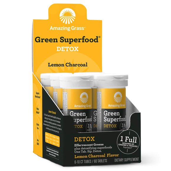 Amazing Grass Green Superfood Detox: Effervescent Detoxifying Drink Tablets, Antioxidants for full body recovery plus One serving of Greens, Lemon Charcoal Flavor, 60 Servings