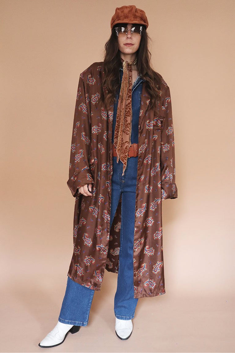 Vintage Brown Paisley Gown
