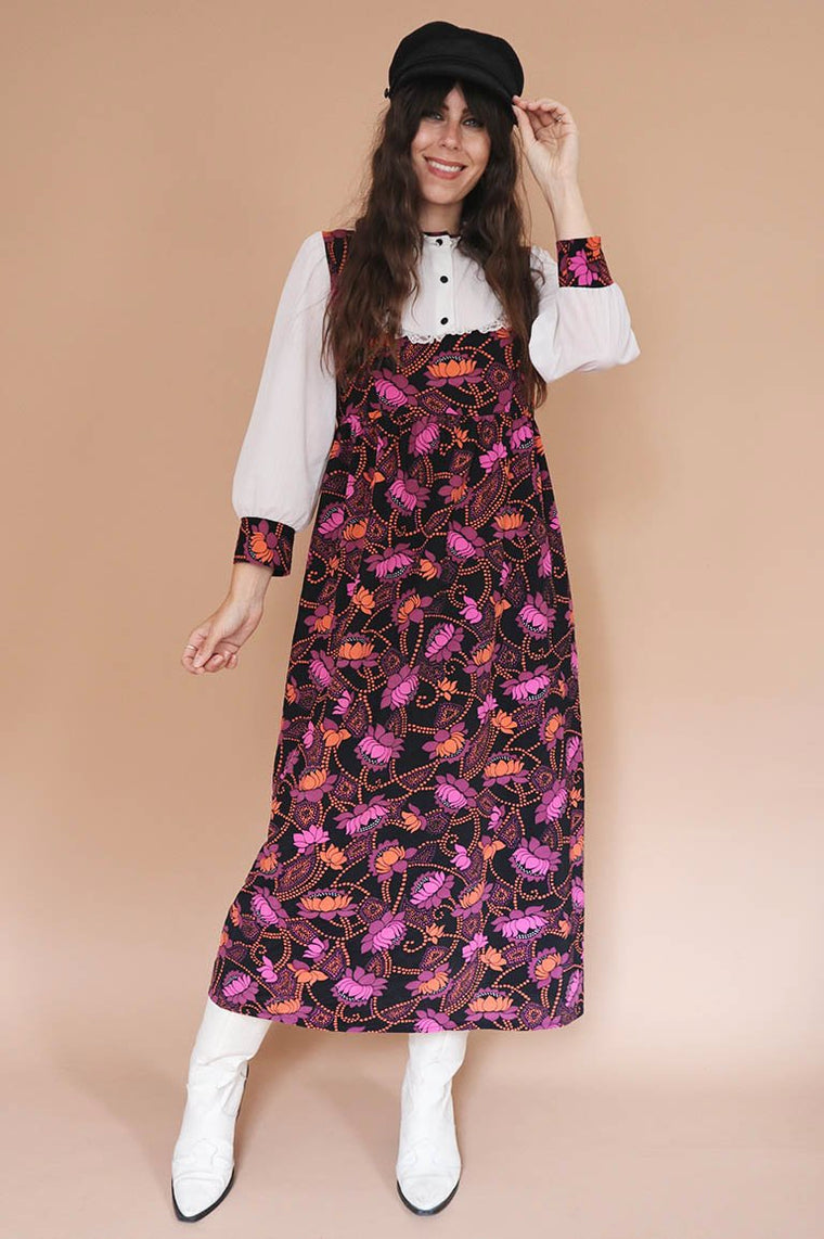 Vintage 1970s Bib Collar Maxi Dress