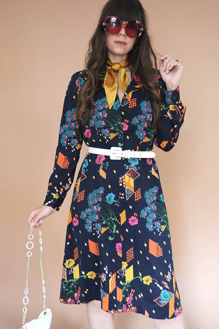 Vintage 1970s Navy Colourful Midi Dress