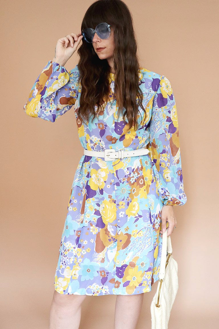 Vintage 1970s Blue Floral Mini Dress