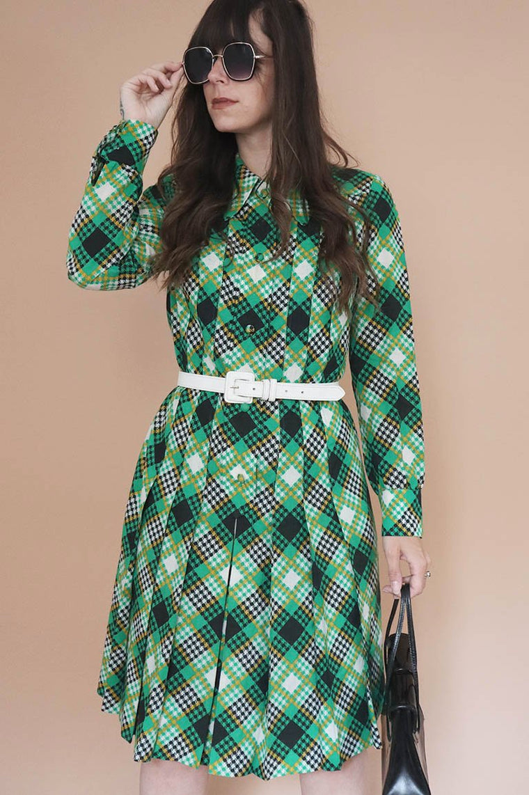 Vintage 1970s Checked Green Dress