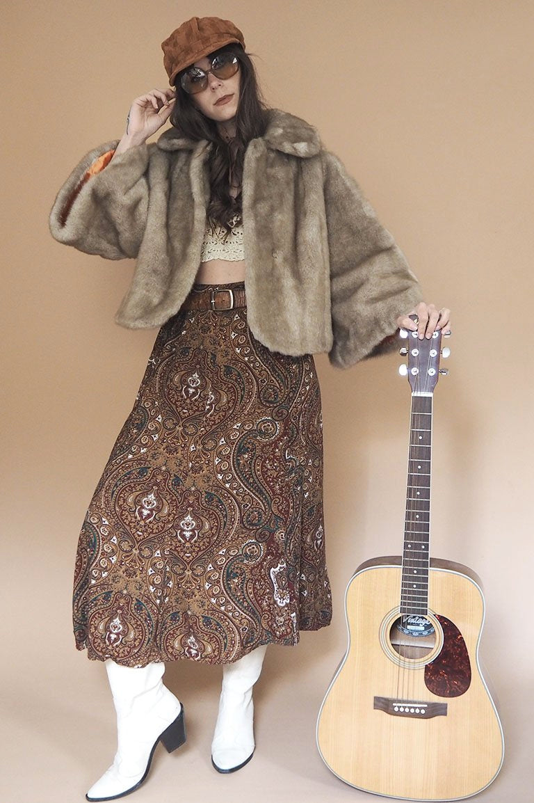 Vintage 1970s Brown Faux Fur Coat