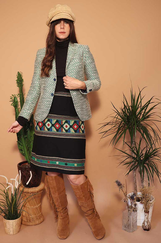 Vintage Green Textured Blazer