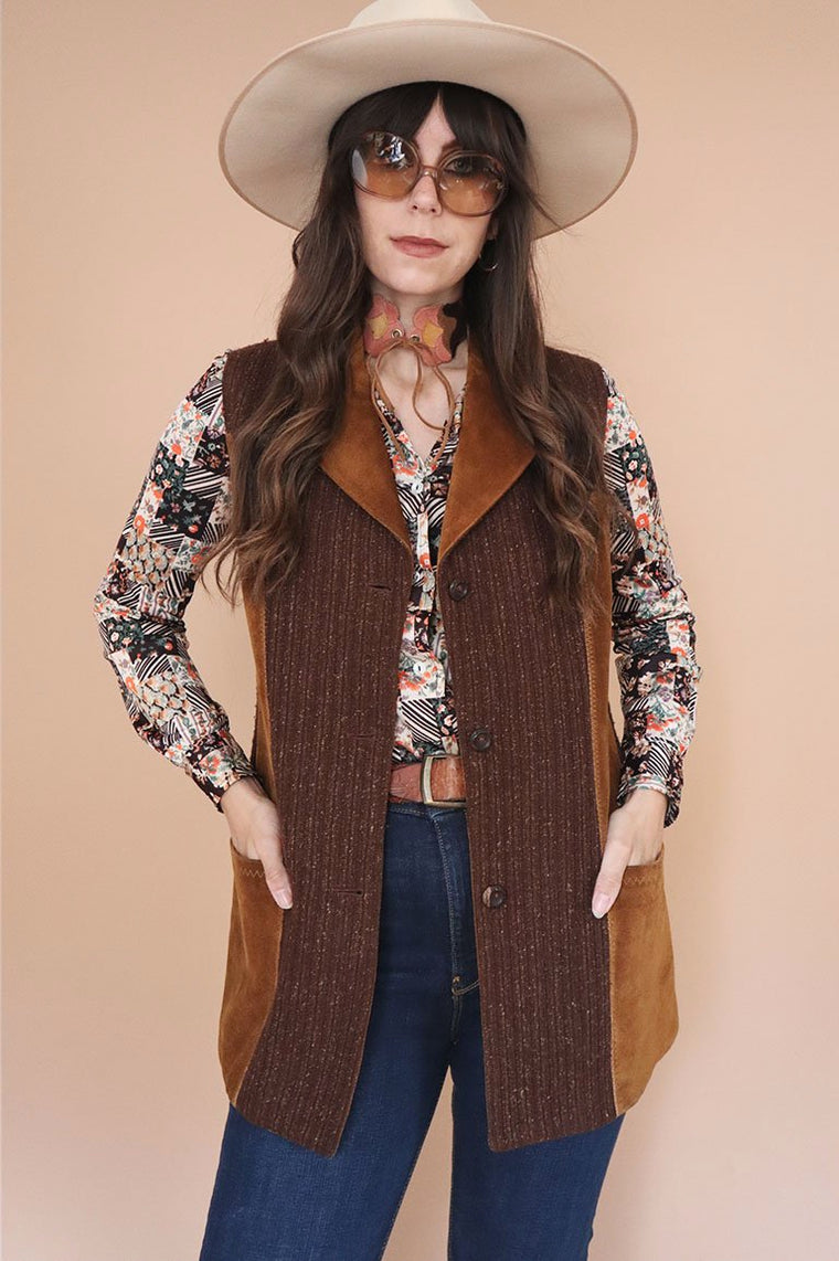 Vintage 1970s Suede Panelled Waistcoat