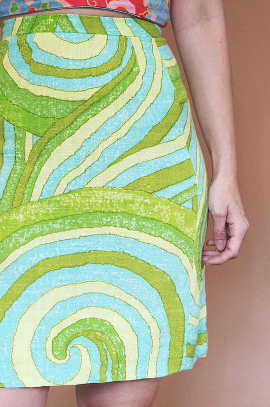 Vintage 1970s Green Psychedelic Skirt