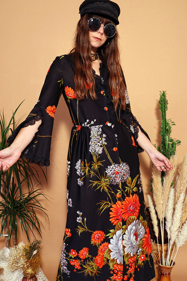 Vintage 1970s Black Button Front Floral Bell Sleeve Duster Dress