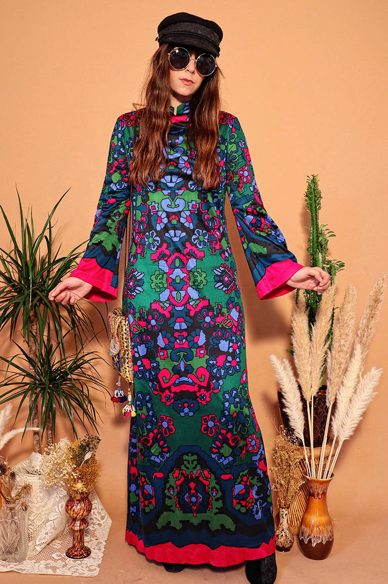Vintage 1970s Psychedelic Maxi Dress