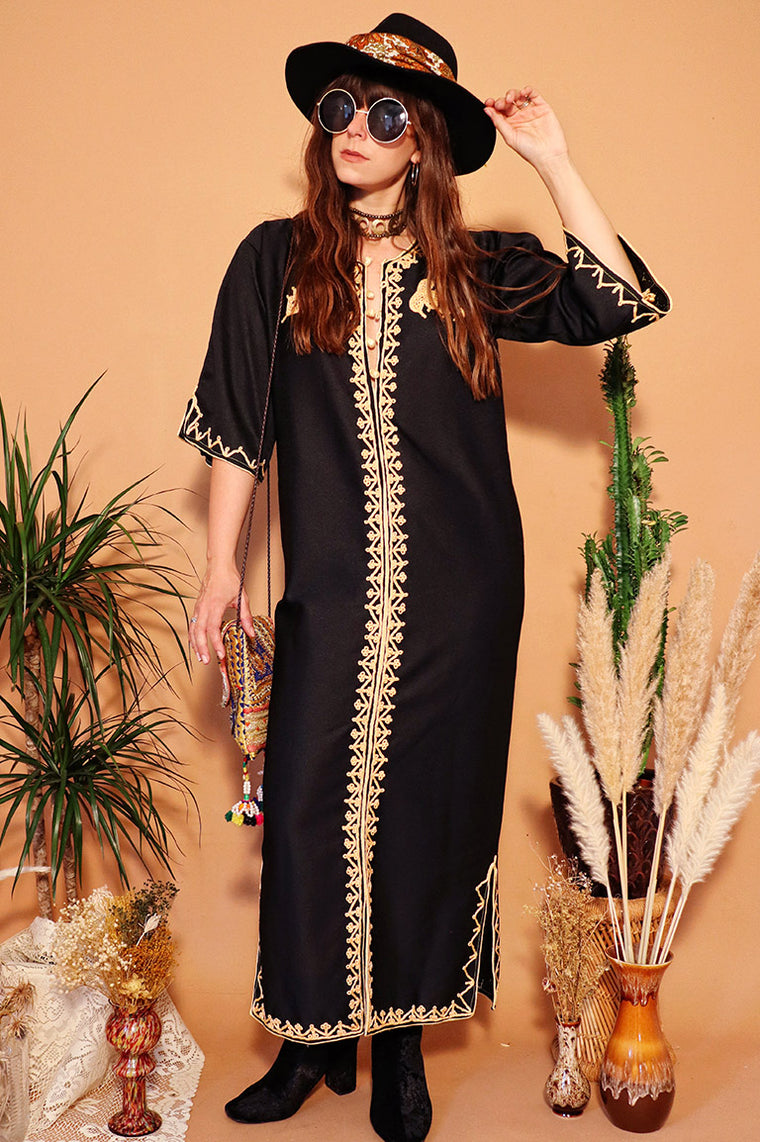 Vintage 1970s Black Embroidered Kaftan Dress