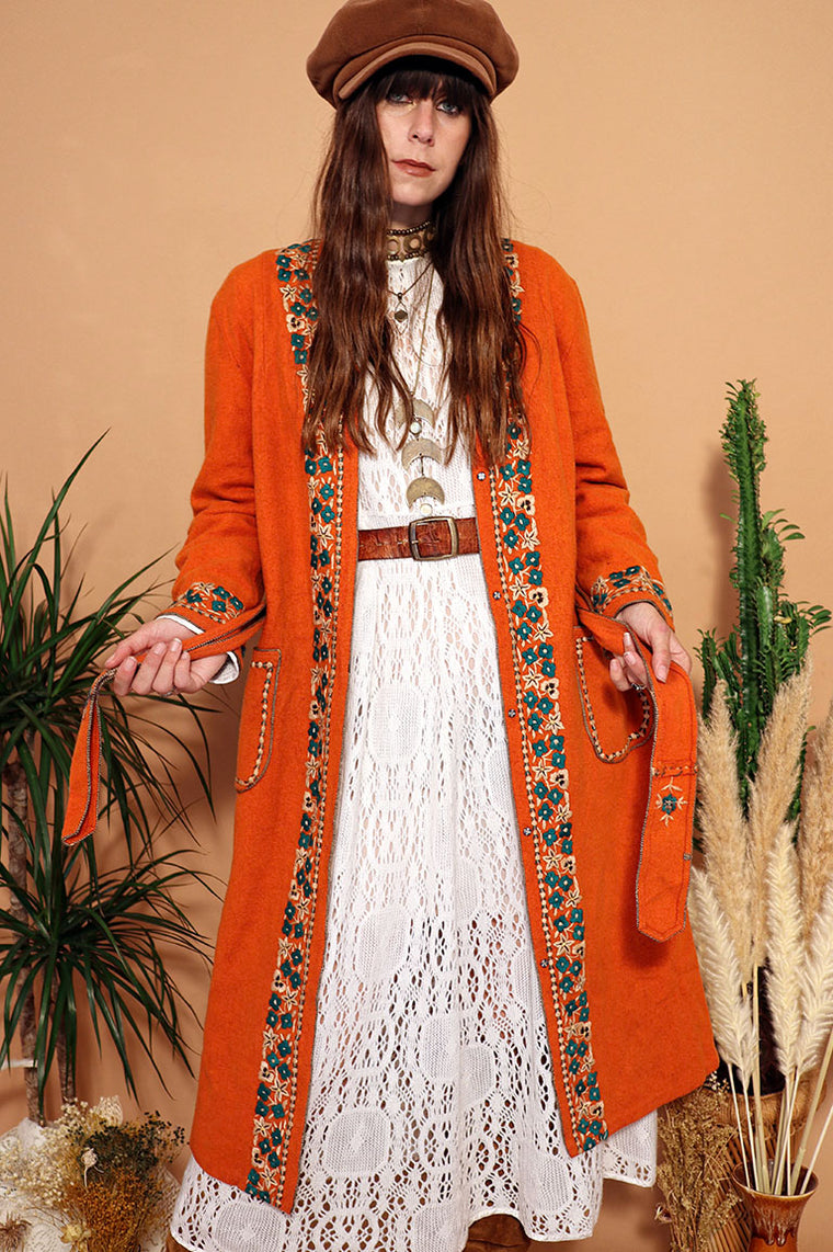 Vintage 1970s Orange Wool Embroidered Duster