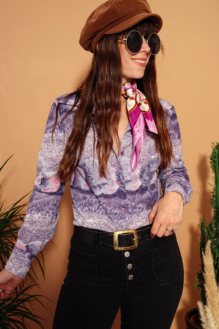 Vintage 1970s Purple Printed Blouse