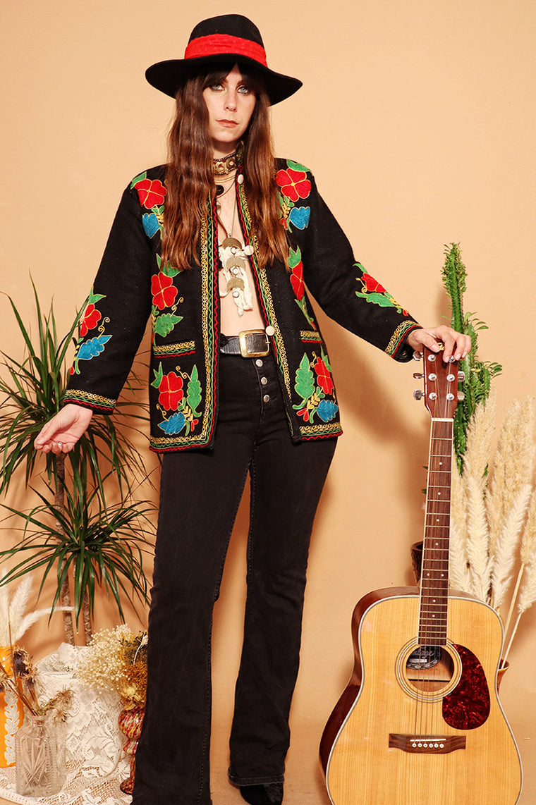 Vintage 1970s Black Technicolour Embroidered Jacket