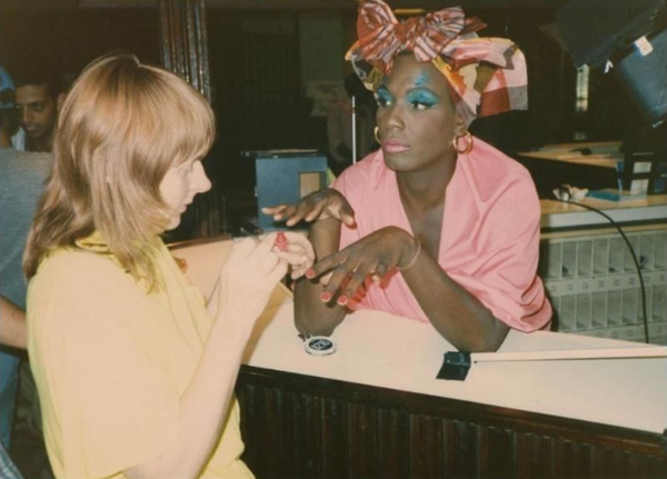 Linda Mason and Willi Smith on Set, Expedition, Willi Smith for WilliWear, Spring 1986 Collection LGBTQ trans rights queer fashion artwork expression pride