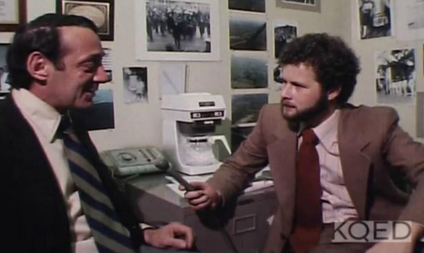 Randy Shilts, one of the first journalists to cover and convey the magnitude of the 1980s AIDS epidemic interviewing Harvey Milk San Francisco