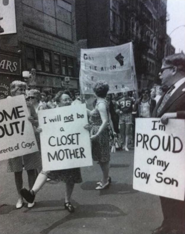 I will not be a closet mother I'm proud of my gay son pride protest rally historical lqbtqia rights vintage gay trailblazers black and white photograph