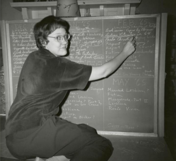 Barbara Gittings important key figures in lgbtq history organized New York chapter of the Daughters of Bilitis (DOB) and edited the national DOB magazine vintage photograph writing on chalkboard