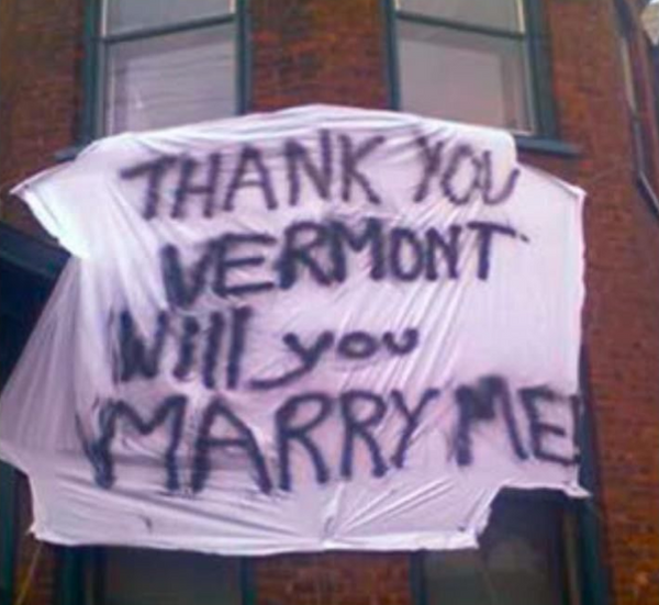 "Thank you Vermont will you marry me from ""State Of Marriage."""