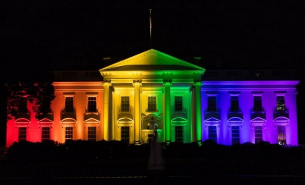 US supreme court lit up with rainbow colored lights in celebration of legalizing same sex marriage nationwide in the United States