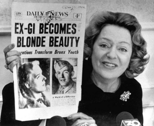 "Christine Jorgensen holds New York Daily News announced with the front-page headline, ""Ex-GI Becomes Blonde Beauty,"" Christine became America's first widely-known trans person.⁠"