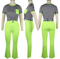 Stripe me down pants set