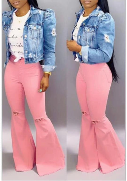 Pink love bell bottoms