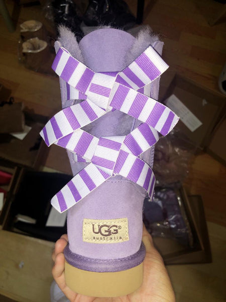 Purple stripe bow boots