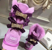 Purple diamond boots with bows