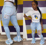 Hot girl distressed jeans