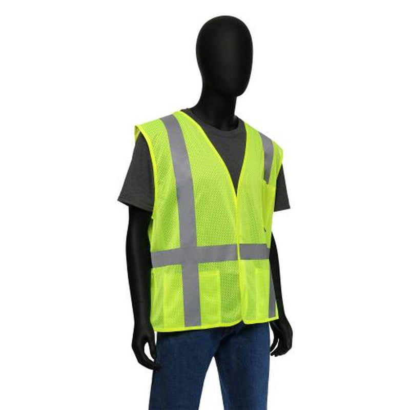 "ANSI Class II Self Extinguishing Vest with 2"" Silver Reflective Tape. 100% Polyester Lime Green Mesh. 47217"