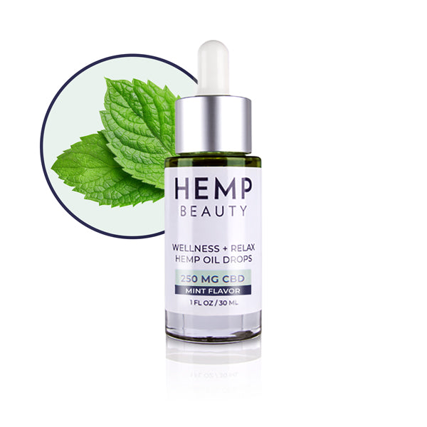 CBD Tinctures | Hemp Beauty - HempBeauty Wellness & Relax  Hemp Oil Drops  - Mint 250 MG CBD