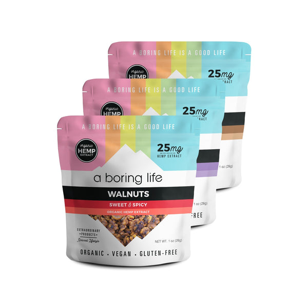 Variety Pack - Lavender Almonds, Dark Chocolate + Sea Salt Almonds, and Sweet & Spicy Walnuts