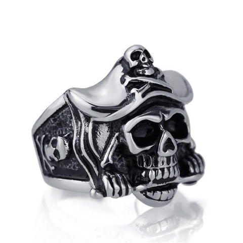 Elfasio Mens Pirate Skull 316L Stainless Steel Ring Punk Biker Wholesle Jewelry