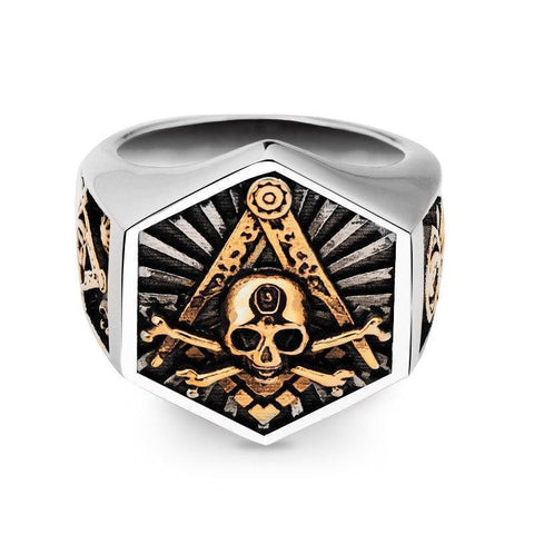 Masonic Ring For Men hexagon skull Stainless steel Freemason Totem Jewelry hippop street culture mygrillz