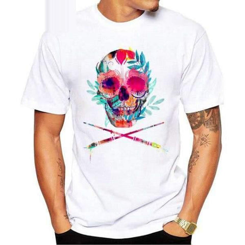 TEEHUB Newest Fashion Flower Skull Printed Men T-Shirt Short Sleeve Sugar Skull Tshirts O-Neck Funny Tops Hipster Tees